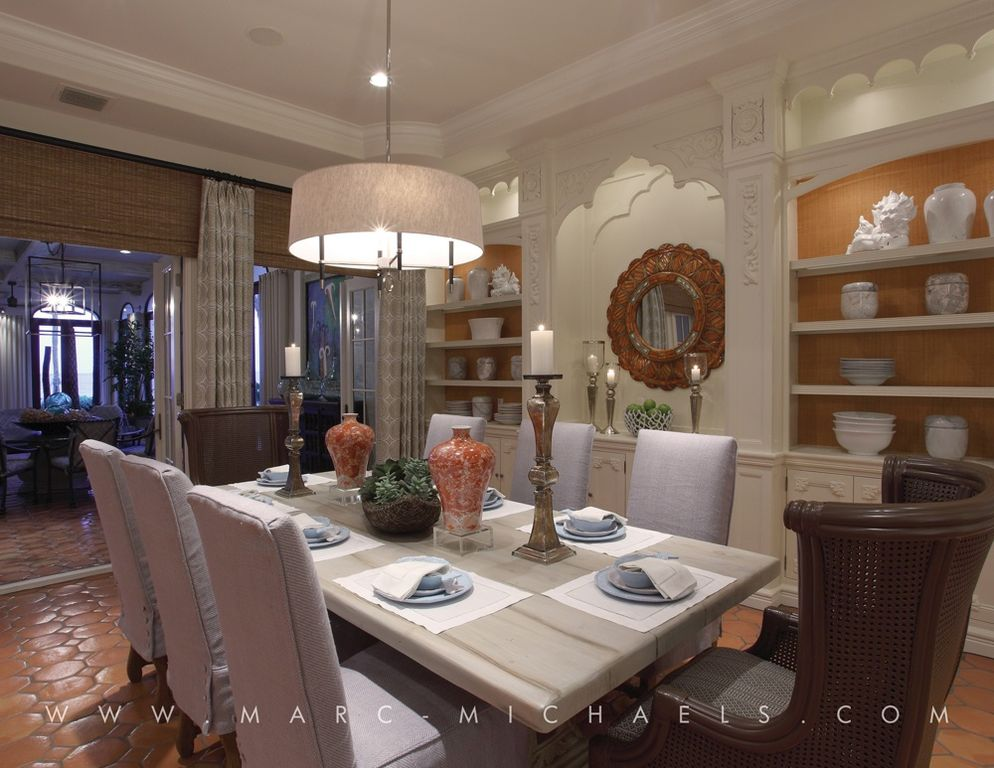 Traditional Dining Room with Built-in bookshelf, French doors, Crown molding, Standard height, flush light, can lights
