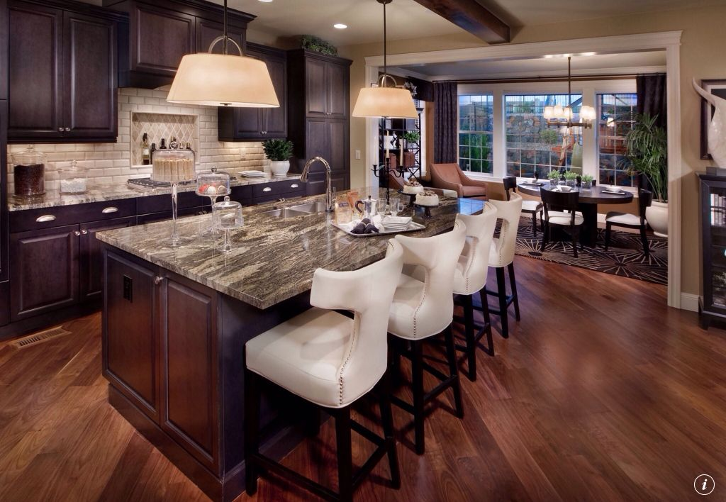 Traditional Kitchen with Breakfast bar, Standard height, stone tile counters, Pendant light, Kitchen island, Exposed beam