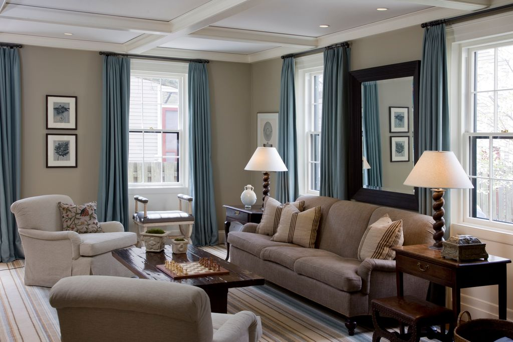Traditional Living Room with Standard height, Carpet, Pottery barn carlisle upholstered sofa, Paint, Crown molding