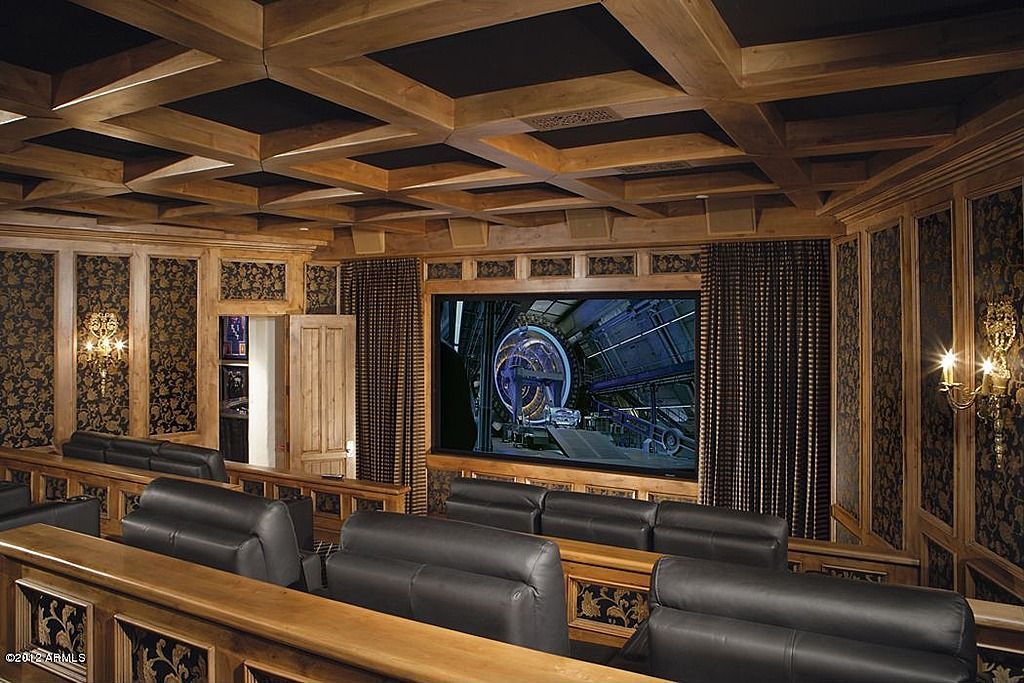 Craftsman Home Theater with Chair rail, interior wallpaper, Standard height, Carpet, Exposed beam, Wall sconce, Crown molding