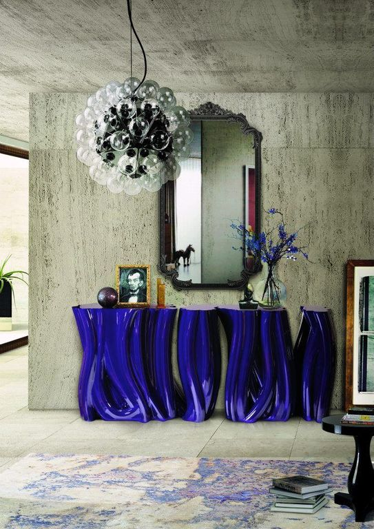 Contemporary Entryway with Concrete tile , Standard height, interior wallpaper, Chandelier