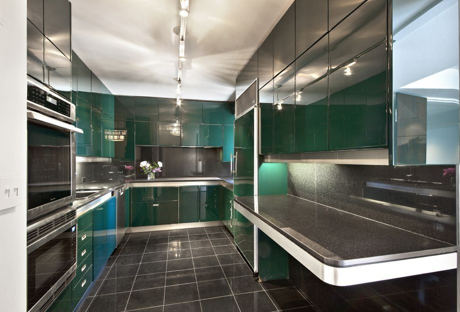 Contemporary Kitchen with Simple Granite, Simple granite counters, wall oven, built-in microwave, full backsplash, U-shaped