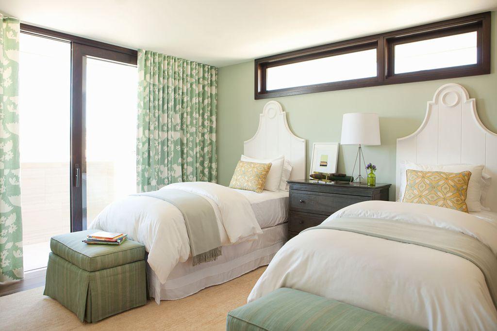 Modern Guest Bedroom with Standard height, sliding glass door, Hardwood floors, Casement