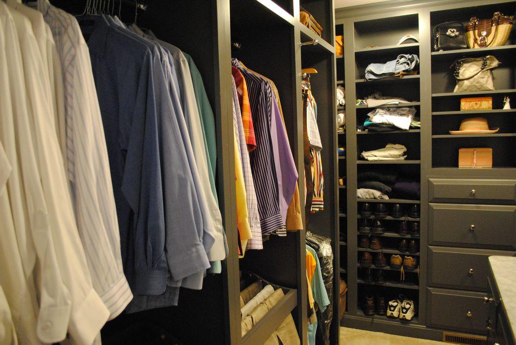 Contemporary Closet with Standard height, Carpet, Built-in bookshelf