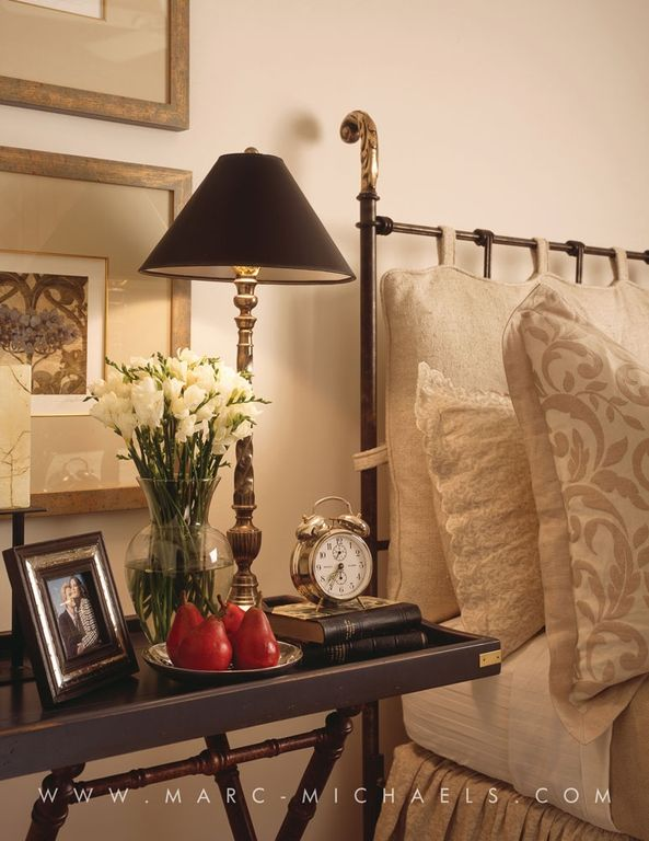 """Traditional Guest Bedroom with Metal bed, Paint, X-frame tray server table, 32"""" table lamp"""
