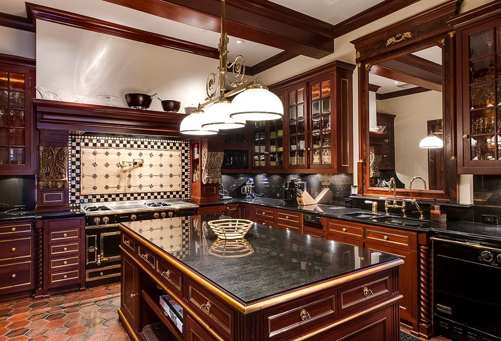 Traditional Kitchen with Exposed beam, Undermount sink, Simple marble counters, Standard height, Glass panel, L-shaped, Flush