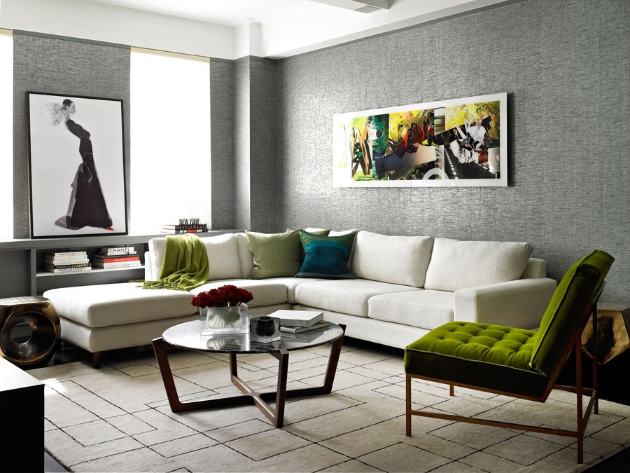 Modern Living Room with specialty window, Drea Iron Side Table, interior wallpaper, Standard height, Paint 1, Carpet