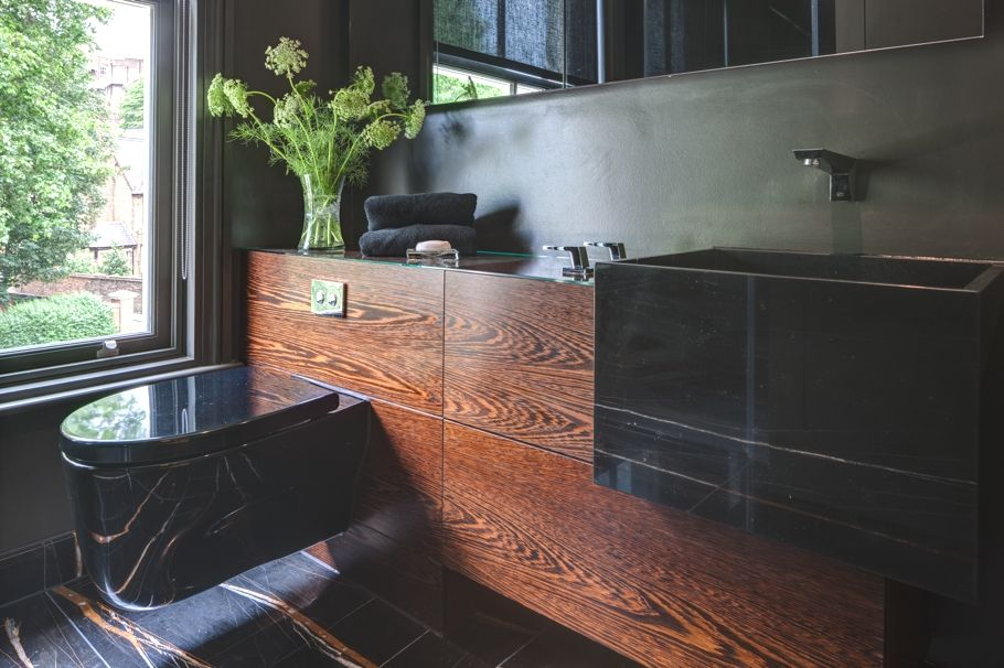 Contemporary Powder Room with Black marble with orange striation, Farmhouse sink, Standard height, Powder room, Paint 1