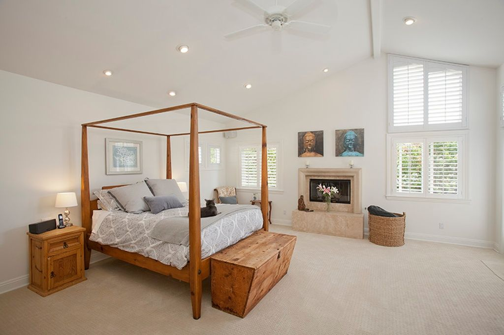 Traditional Master Bedroom with Cathedral ceiling