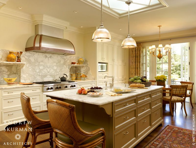 Traditional Kitchen with Standard height, Pendant light, Inset cabinets, Complex marble counters, French doors, Chandelier