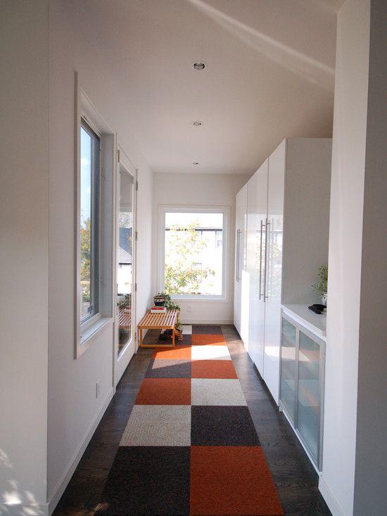 Contemporary Entryway with Hardwood floors, Casement, can lights, Standard height, Built-in bookshelf