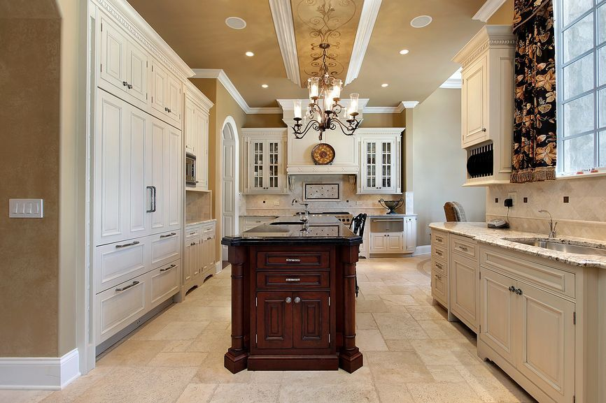 Traditional Kitchen with MS International Tuscany Beige Pattern Honed