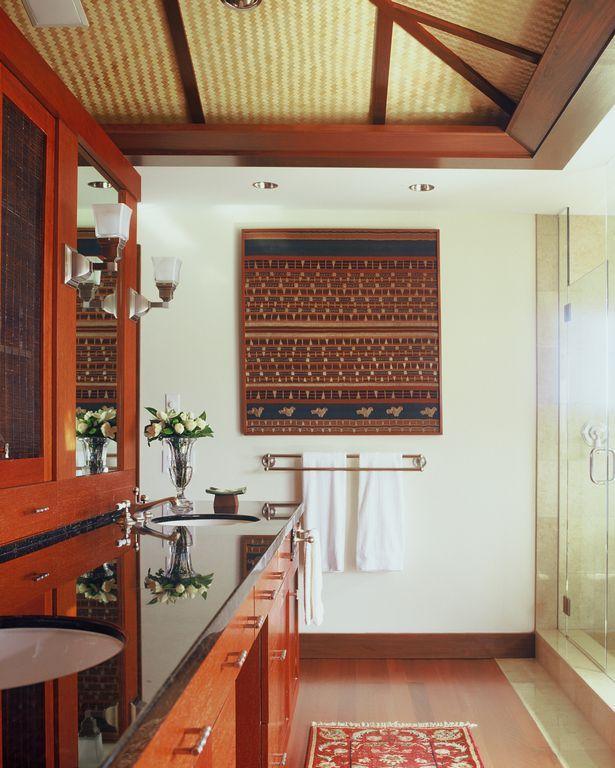 Tropical Master Bathroom with Paint 1, can lights, Standard height, partial backsplash, Undermount sink, Shower, Flush