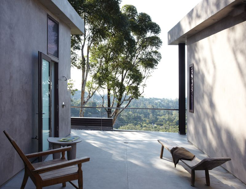 Contemporary Patio with Transom window, picture window, French doors, Deck Railing