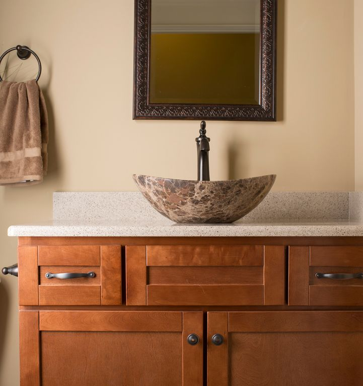 Craftsman Powder Room with Crown molding, Standard height, Simple Granite, Powder room, Flat panel cabinets, Vessel sink