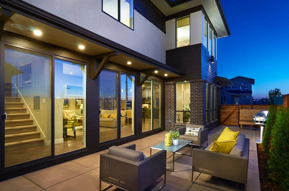 Contemporary Patio with Gate, Fence, exterior tile floors, Outdoor kitchen