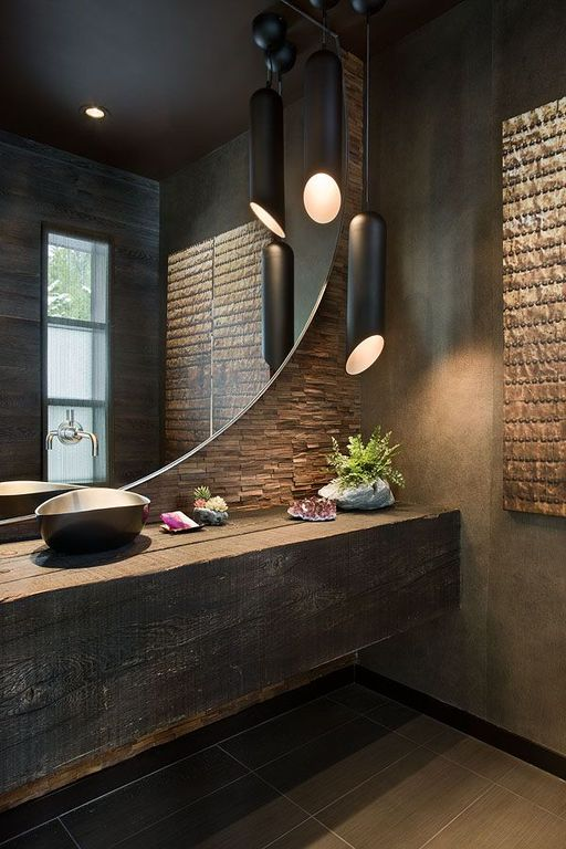 Contemporary Master Bathroom with Vessel sink, Wood counters, Xylem Stone Vessel Sink, Pendant light, Master bathroom