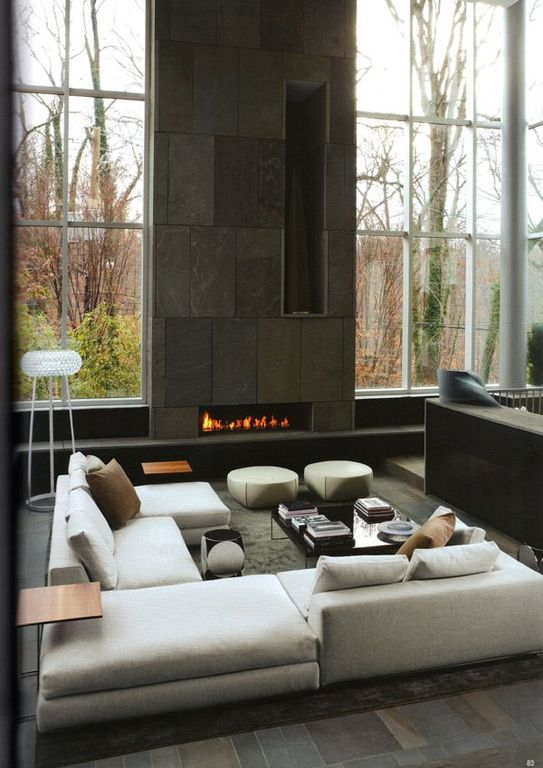 Contemporary Living Room with insert fireplace, High ceiling, picture window, Lumens inari floor lamp, stone tile floors