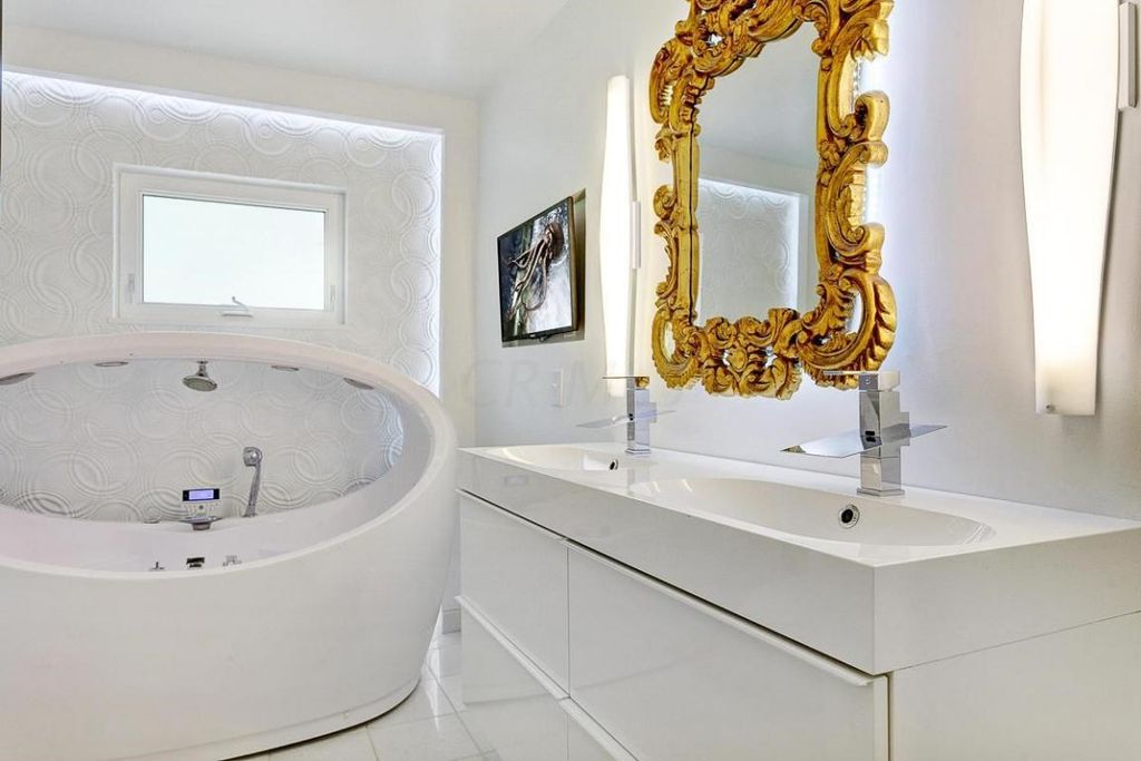 master bathroom with european cabinets double sink in