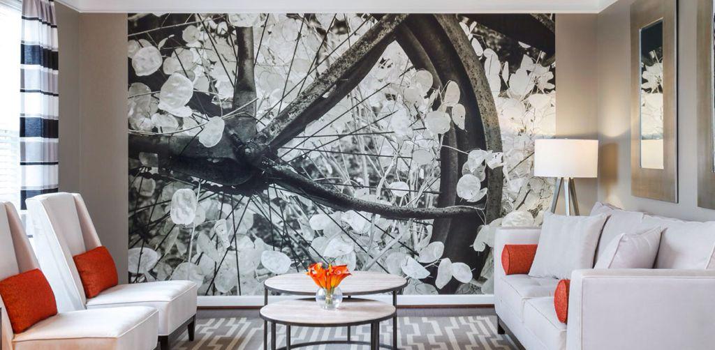 Eclectic Living Room with Surya Horizon Grey/Ivory Geometric Area Rug, Hardwood floors, interior wallpaper, Crown molding