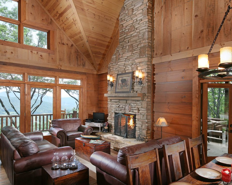 Rustic traditional house design great room x