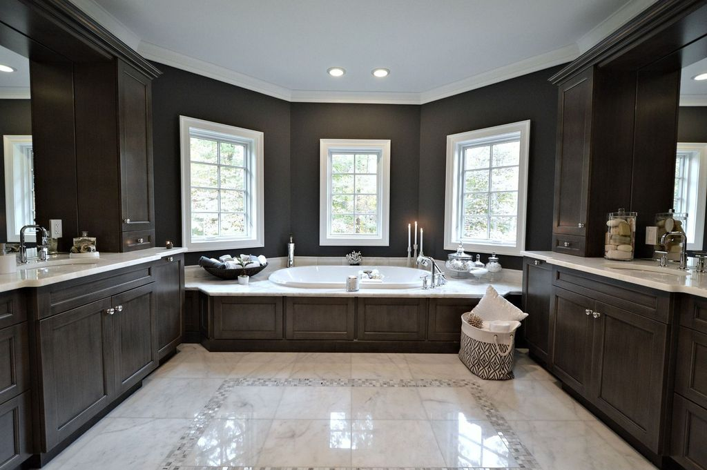 Craftsman Master Bathroom with Corian counters, Bathtub, Ms international greecian white 12 in. x 12 in. polished marble