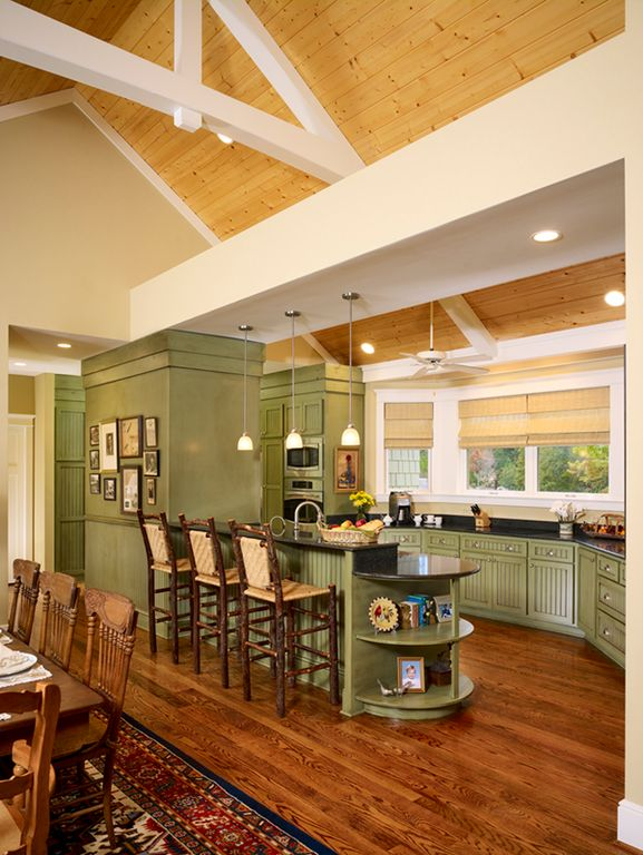 Country Kitchen with Paint 1, Flat panel cabinets, double wall oven, partial backsplash, Undermount sink, High ceiling, Paint