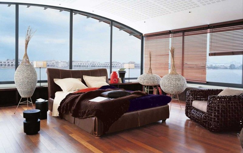 Contemporary Master Bedroom with Adeco [VS0008] Decorative Wood Vase, High ceiling, can lights, Laminate floors, Window seat