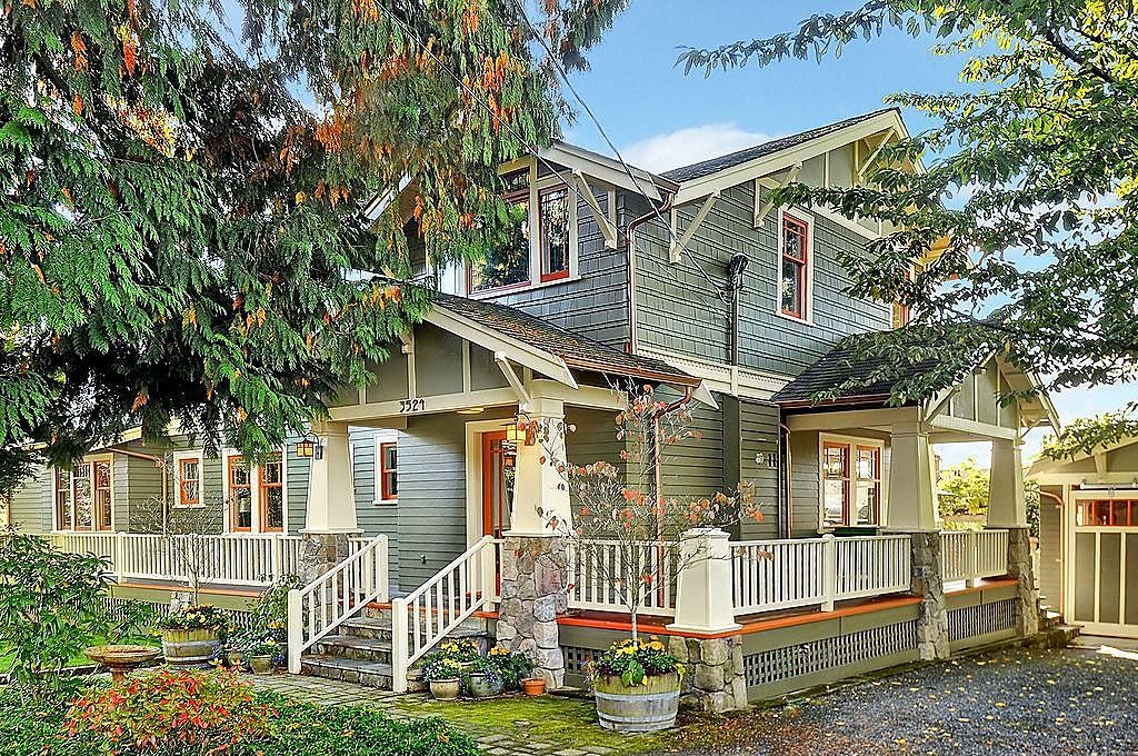 Craftsman Porch with exterior stone floors, Deck Railing, French doors, Paint 2, Paint 1, Pathway, Wrap around porch, Paint 3