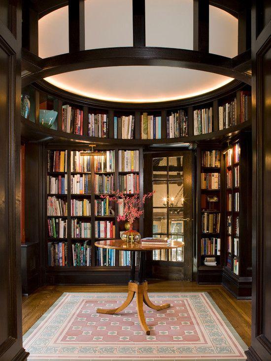 Traditional Library with Glass panel door, Built-in bookshelf, picture window, Hardwood floors, Standard height