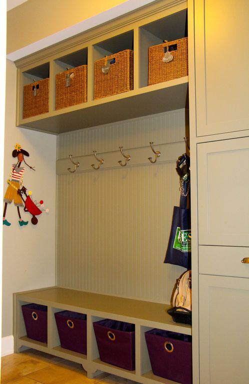 Cottage Mud Room with Paint 2, Standard height, Crate & Barrel Sedona Totes, Paint 1, Hardwood floors, Built-in bookshelf