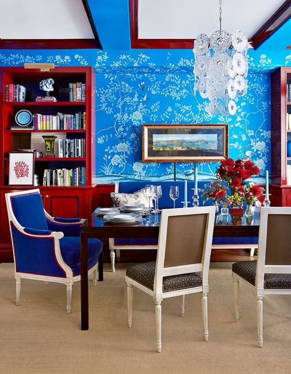 Eclectic Dining Room with Paint 2, Chandelier, Standard height, Hardwood floors, Paint 1, Wainscotting, interior wallpaper
