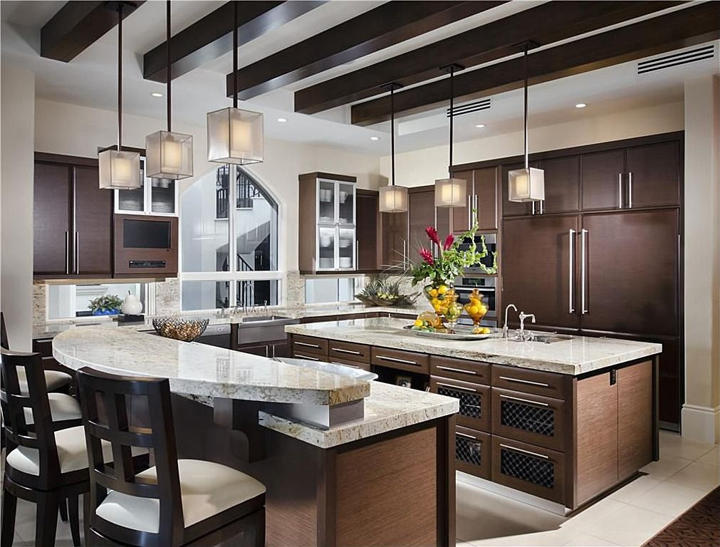 Contemporary Kitchen with stone tile floors, Built In Panel Ready Refrigerator, Paint 2, Glass panel, U-shaped, Breakfast bar
