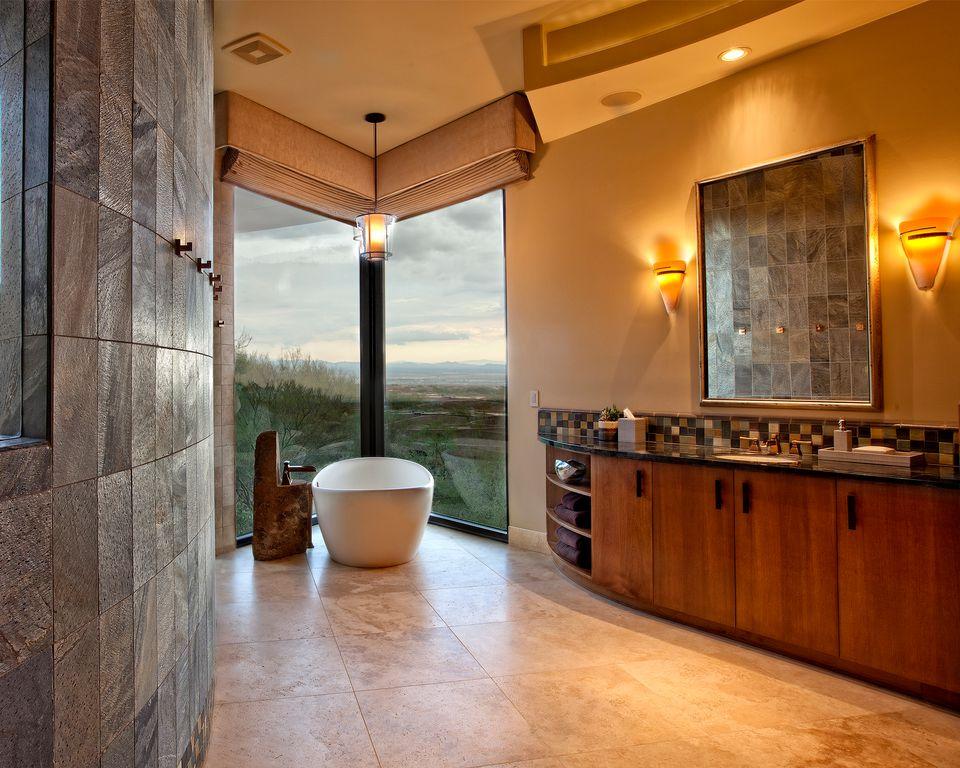 Contemporary Master Bathroom with Flush, Mosaic tile backsplash, Bathtub, European Cabinets, picture window, High ceiling