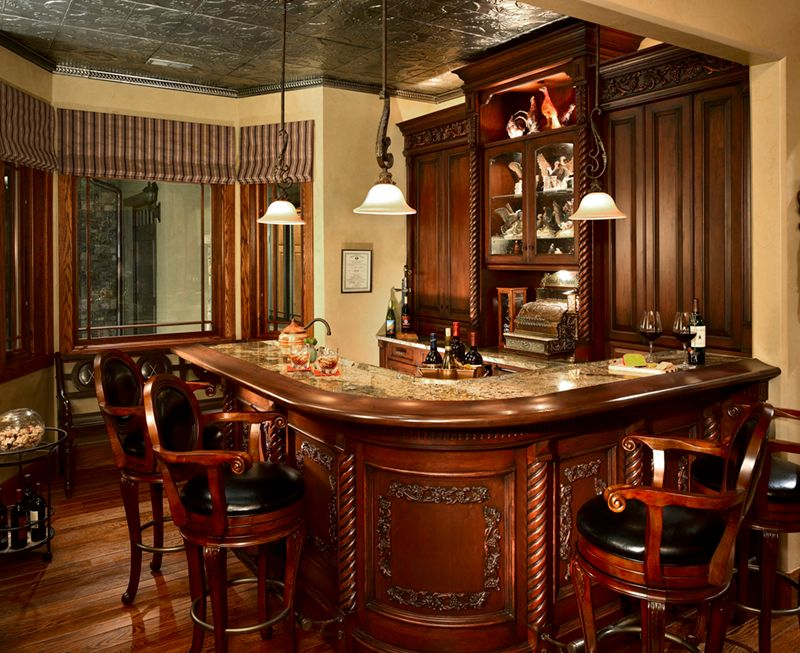 Traditional Bar with Standard height, Built-in bookshelf, Hardwood floors, picture window, flush light