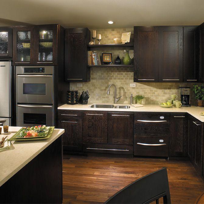 Contemporary Kitchen with Travertine Machiatto Silver Tumbled 3x6 Subway Tile, European Cabinets, Undermount sink, Paint 1