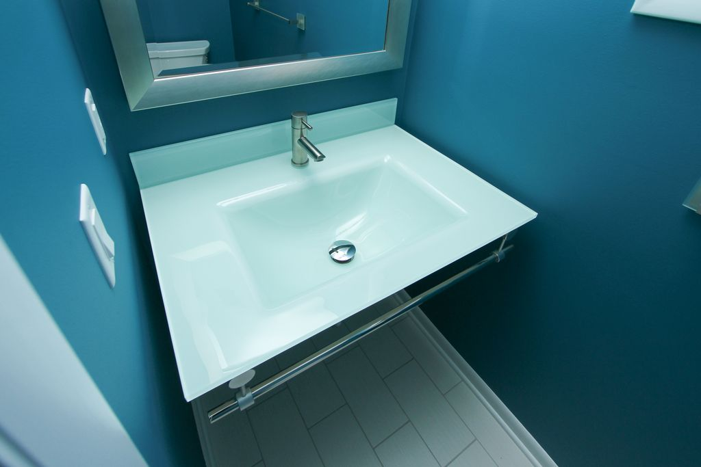 Contemporary Powder Room with Paint, Usa made rayne modern stainless silver wall mirror, Powder room, Wall mounted sink