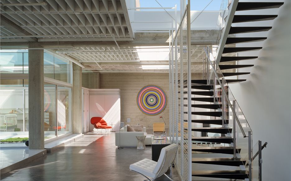 Contemporary Staircase with Hardwood floors, Cathedral ceiling, Floating staircase