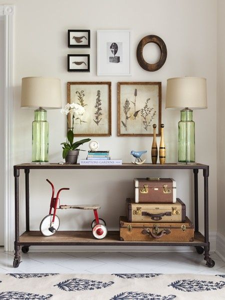 Eclectic Hallway with West elm rocking birds, Butler mountain lodge console table, Paint, Concrete tile , Standard height