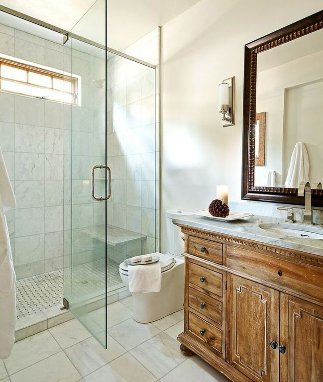 Traditional 3/4 Bathroom with three quarter bath, stone tile floors, Inset cabinets, Complex marble counters, Standard height