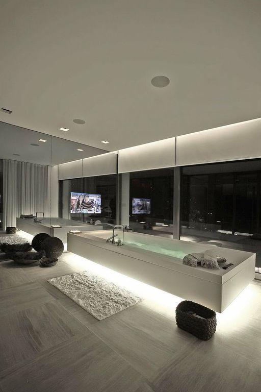 Contemporary Master Bathroom with Standard height, drop in bathtub, can lights, Master bathroom, stone tile floors, Bathtub