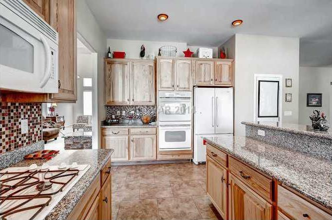 Craftsman Kitchen with double wall oven, Framed Partial Panel, European Cabinets, Simple Granite, Standard height, L-shaped