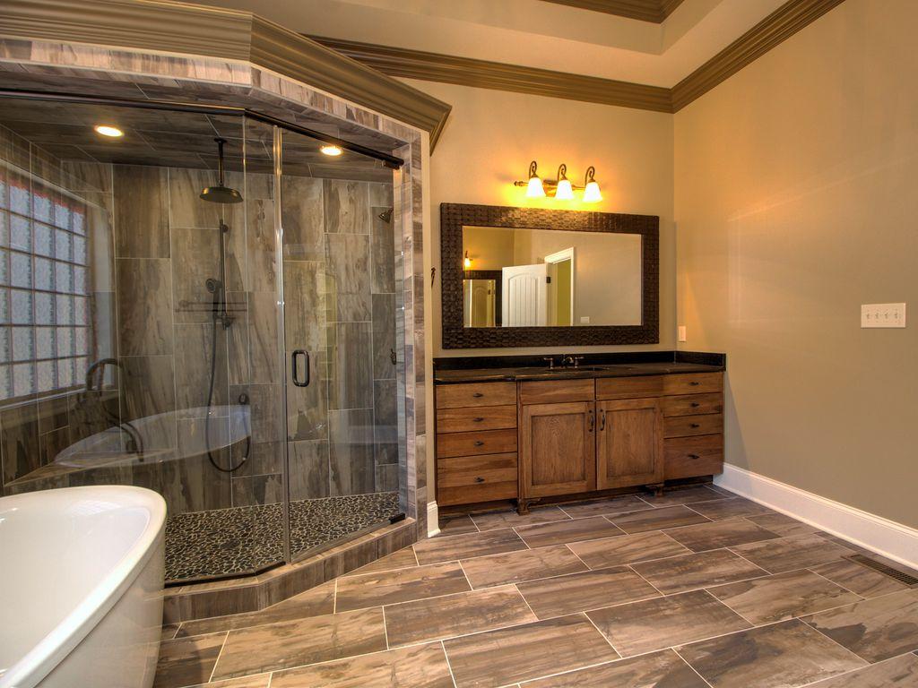 Contemporary full bathroom with flat panel cabinets Bathroom cabinets greensboro nc