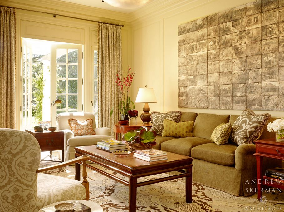 Traditional Living Room with flush light, Standard height, Crown molding, Wainscotting, Carpet, French doors