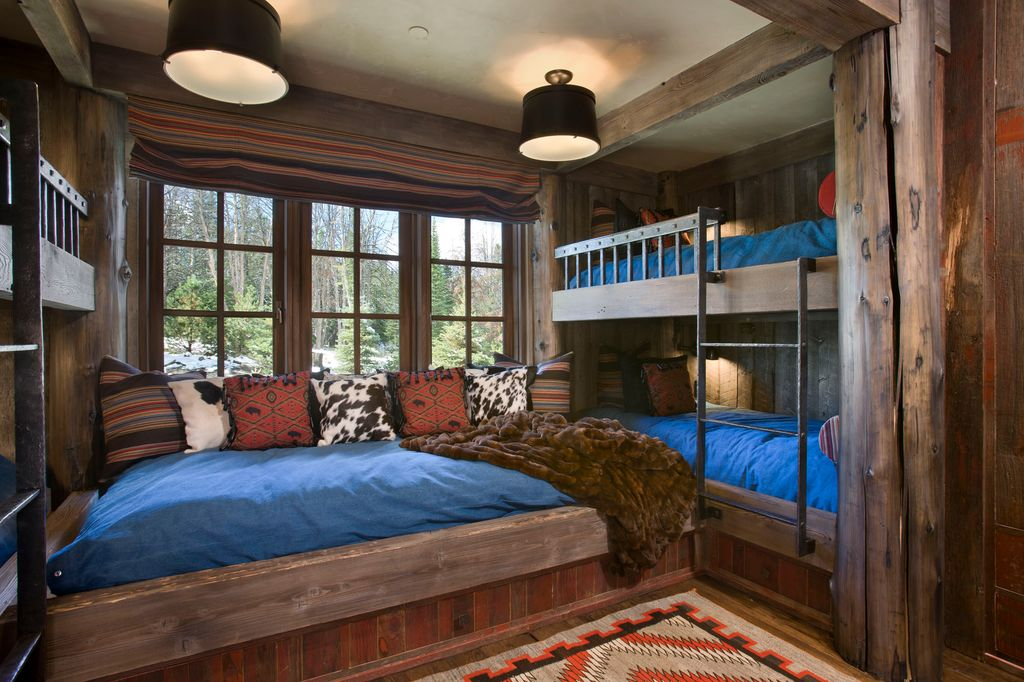 """Rustic Guest Bedroom with All black giclee 14"""" wide ceiling light, Faux fur throw blanket brown mink, Custom bunk beds"""