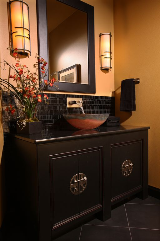 Asian Powder Room with Wall sconce, porcelain tile floors, Simpli Home Chelsea Vanity Mirror, Paint 1, Powder room
