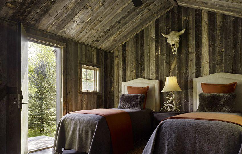 Eclectic Guest Bedroom with Elm Wood Antique Reclaimed Grey Original Barn Wood Paneling, flat door, High ceiling, Casement