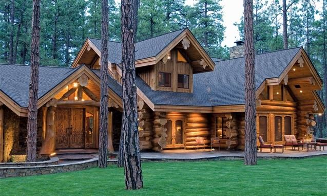 Rustic Exterior of Home with Wood log exterior, Cabin, Lodge, Natural wood exterior