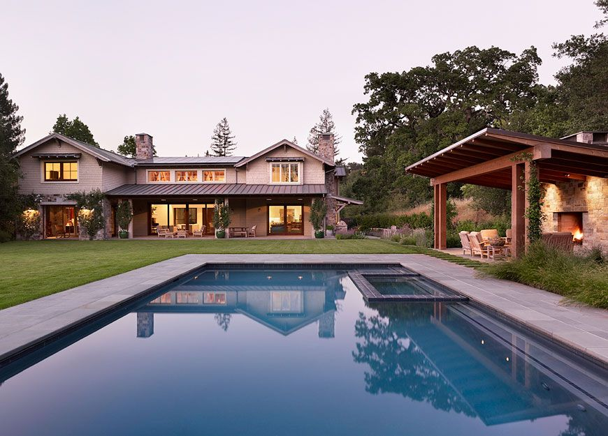 Craftsman Swimming Pool with Trellis, Other Pool Type, Casement, French doors