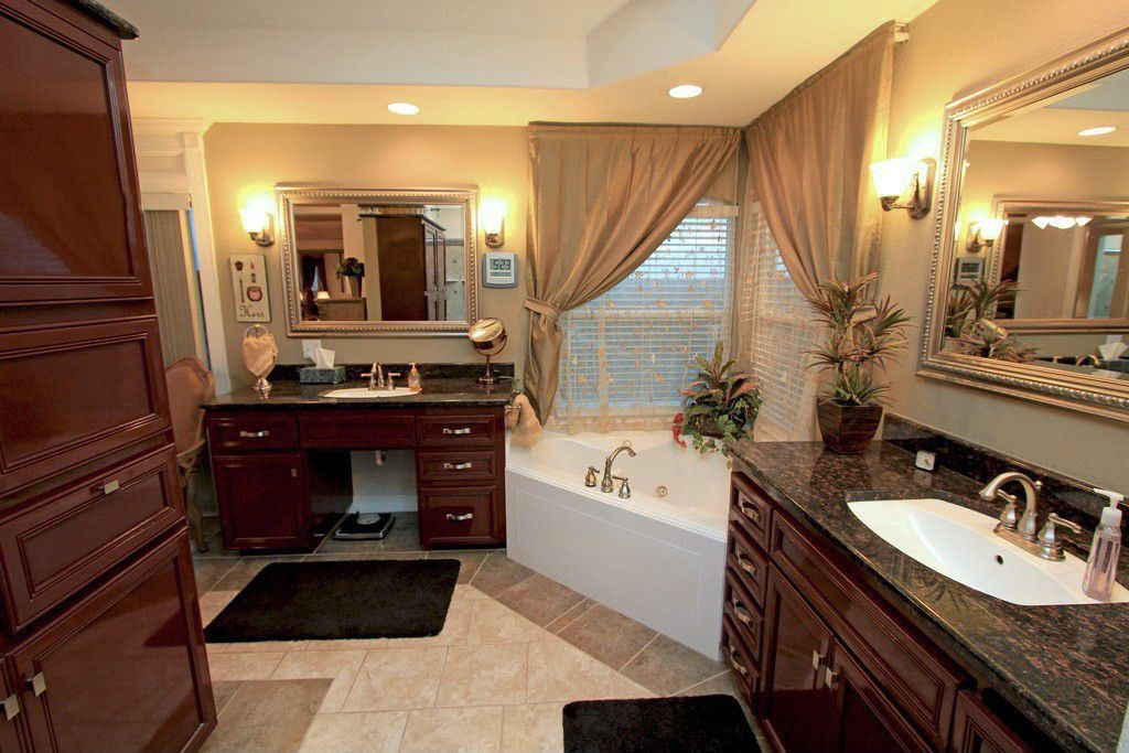 Traditional Master Bathroom with Undermount sink, flush light, Flat panel cabinets, Complex granite counters, Master bathroom